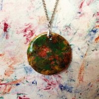 Handmade clay Pendant Necklace - Gertie