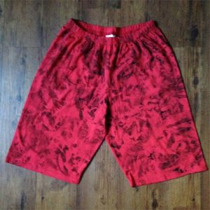 ladies shorts, red with black pattern